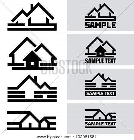 Creative House Icons from Lines. Concept Idea Ready for Your Text and Design.