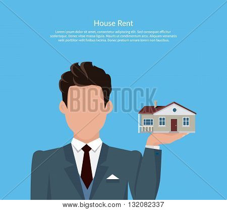 House for rent. Flat rent price design. Price and business, estate house, rental home building, property residential, deal and money, apartment search. Broker keeps house on palm. Vector illustration.