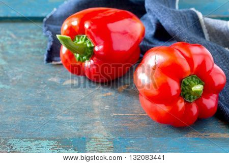 Fresh Organic Sweet Peppers On A Wooden Table, Selective Focus.