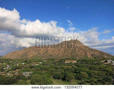 Aerial view of Diamondhead crater Kapiolani Park the gold coast and surrounding neighborhood on Oahu Hawaii. March 2016.