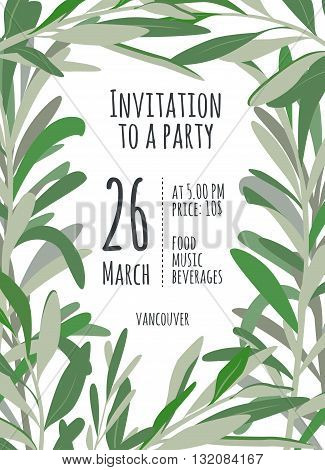 Invitation for holiday with green leaves. A bright illustration for eco hipster party