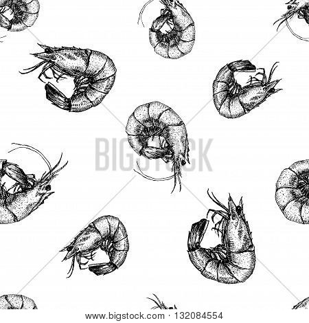 Beautiful pattern with nice hand drawn shrimps