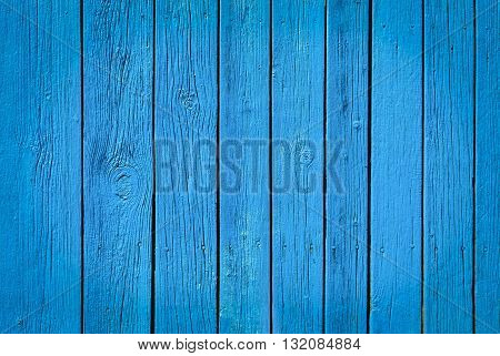 Blue painted natural wood background texture. Closeup
