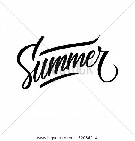 "Hand lettered text ""Summer"". Calligraphic season inscription. Vector handwritten typography."