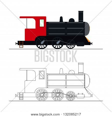 Vector coloring an old steam locomotive. Color and outline old steam locomotive vector illustration. Coloring for kids - old steam locomotive.