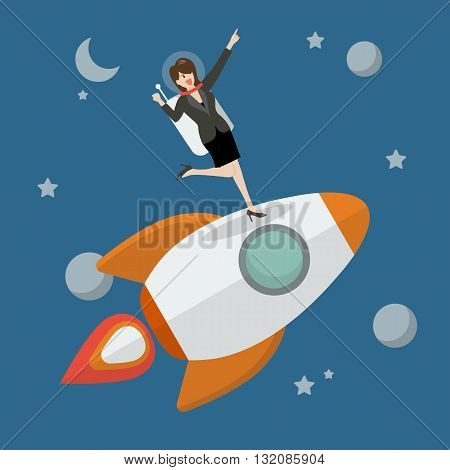 Business woman astronaut standing on a rocket. Project start up new business.