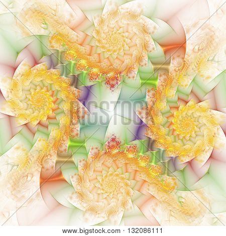 Abstract fantasy yellow orange and green swirly ornament on white background. Creative fractal design for greeting cards or t-shirts.