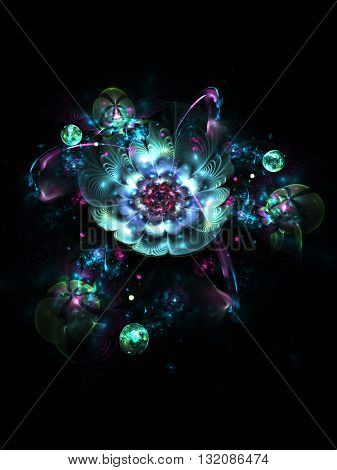 Abstract colorful blue and pink flowers with shining drops on black background. Fantasy fractal design for postcards or t-shirts.