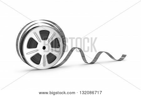 Old film strip isolated on white background. 3d illustration