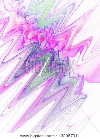 Color waves on white background. Abstract fractal texture. Fantasy design for greeting cards or t-shirts.
