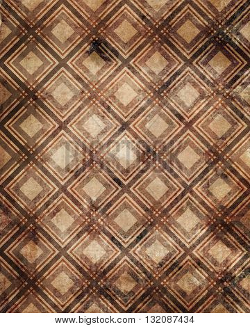 Checkered plaid grunge ornamental pattern brown background