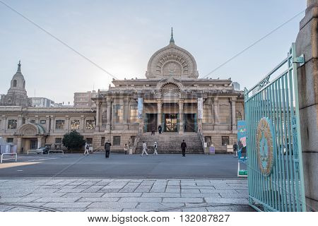 Tokyo Japan -November 21 2015 : Tsukiji Honganji temple was lost in the Great Kanto Earthquake of 1923 and the present temple that replaced it with its Indian architectural motif.
