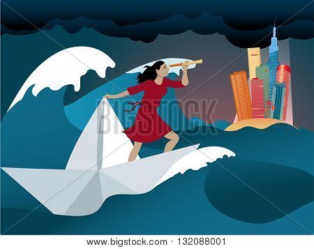 Woman standing on a paper boat in the middle of a stormy ocean, looking through a spyglass at an island with a city skyline on the horizon, no transparencies