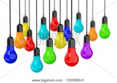 Ideas Concept. Many colourful Light Bulbs on a white background. 3d Rendering