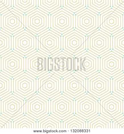 Geometric fine abstract background. Seamless modern pattern with golden hexagons