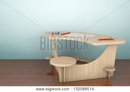 Old Style Photo. Wooden Study Kid Desk with Pencils and Picture Paper on the floor. 3d rendering