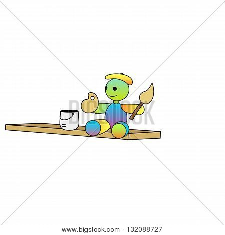 Beautiful colorful cartoon doll artist with a paint brush vector illustration isolated on white background.