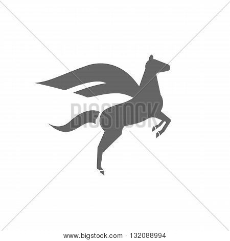 Flying horse with wings silhouette icon vector illustration isolated on white background.