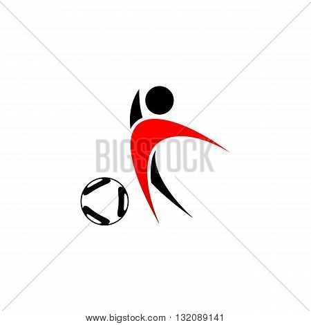 Black and red football player with ball icon vector illustration isolated on white background.