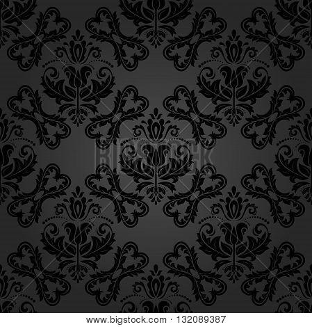 Damask seamless ornament. Traditional dark pattern. Classic oriental background