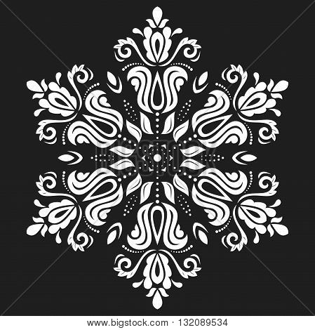 Oriental pattern with arabesques and floral elements. Traditional classic black and white ornament