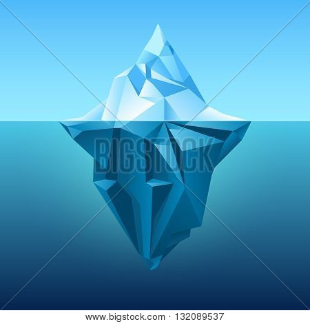 Iceberg in blue ocean vector background. Polygonal iceberg underwater, metaphor business iceberg northern on water sea illustration