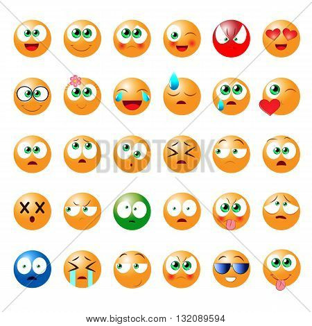 Set of fun emoticons for use in games chat rooms social networks websites and other online projects