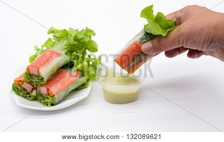 Japanese crab veggie salad for healthy food