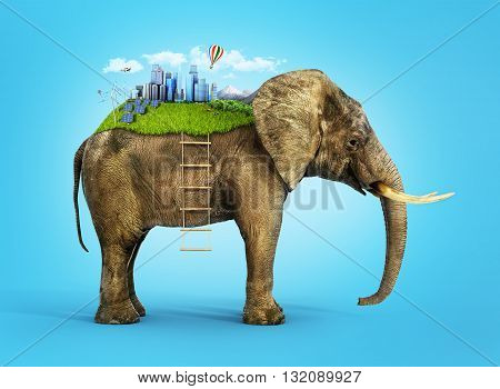 Concept of stability. Future world on the african elephant's back with rope-ladder. Eco city.