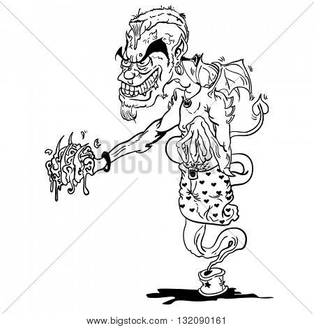 black and white devil ginnie cartoon illustration
