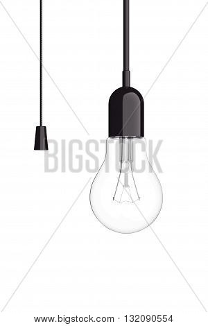 Light Bulb with Cord Switch on a white background. 3d Rendering