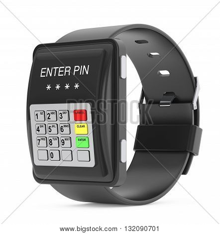 Security Concept. Smartwatch as ATM Keypad on a white background. 3d Rendering