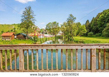Bridge over the river Brenz Eselsburger Tal valley - jewel of the swabian alps