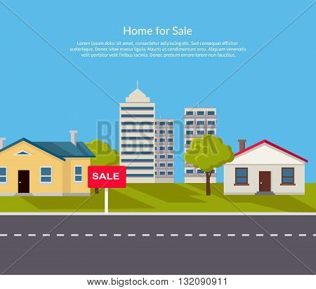 House for sale. Sold home with for sale sign in front of beautiful new house. Vector illustration