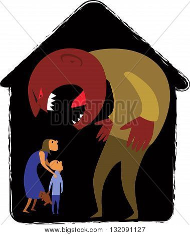 Domestic abuse. Male monster yelling at woman and child representing domestic abuse, abstract house background, vector illustration