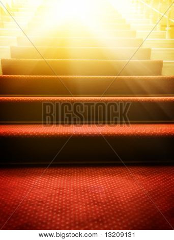 Stairs covered with red carpet poster