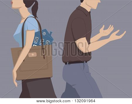 Divorce and division of assets. Man and woman walking away from each other, the woman carrying a house in her purse, the man going empty-handed