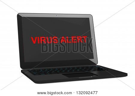 Mobile Security Concept. Virus Infected Laptop on a white background. 3d Rendering