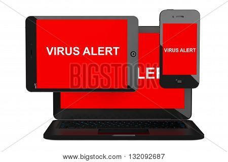 Mobile Security Concept. Virus Infected Mobile Phone Tablet PC and Laptop on a white background. 3d Rendering