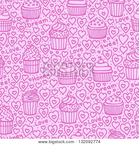 Sweet Valentines day background. Vector seamless pattern with doodle muffins and hearts. Love honey dream sweet words.