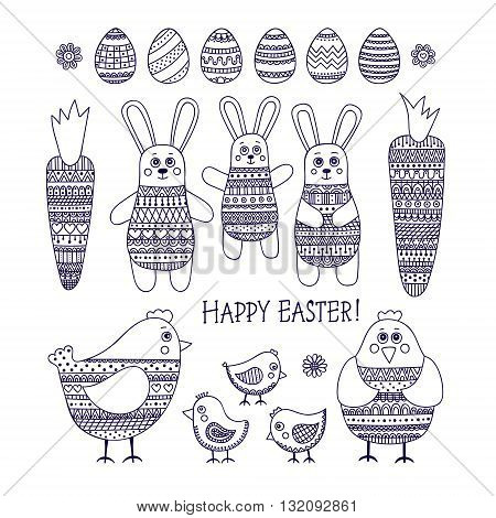Big Easter set. Hand drawn easter elements with doodle ornament. Cute bunny chicken carrot flowers and eggs for Easter design. Happy Easter! Vector out line isolated.