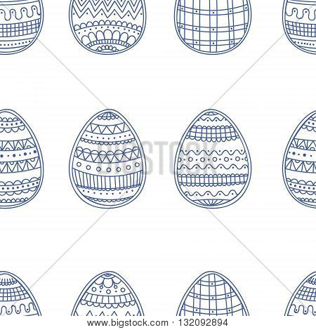 Easter eggs with doodle ornament. Seamless vector pattern with hand drawn easter eggs. On white background.