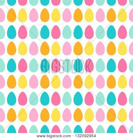 Easter eggs. Seamless pattern with easter color eggs. Vector. Yellow blue pink orange and green colors.