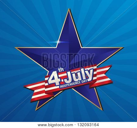 Vector Illustration of an 4 july Independence day greeting card