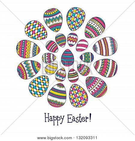 Easter card. Cute Easter card with doodle eggs. Happy Easter! Hand drawn doodle elements with doodle ornament.