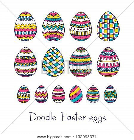 Doodle Easter eggs. Vector set of easter eggs with doodle ornament. Hand drawn easter elements pink yellow and blue colors. Isolated.