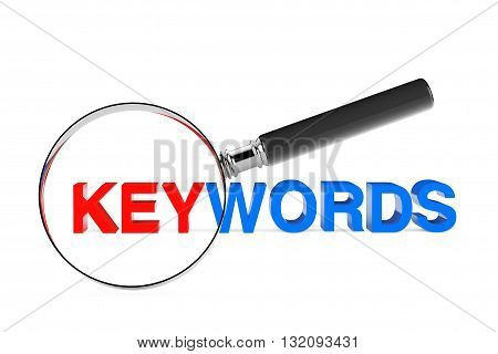 Find Keywords Concept. Magnification Glass with Keywords Sign on a white background. 3d Rendering