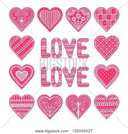 Doodle hearts. Vector set of hand drawn hearts with doodle ornament. Valentines day card.