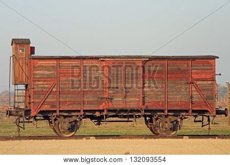 Auschwitz Poland - October 30 2015: Transport wagon used for deportation to concentration camp Auschwitz II Birkenau