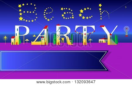 Beach Party Invitation. Cute houses Font on the night coast. Stars in the sky. Blue banner for custom text. Illustration.